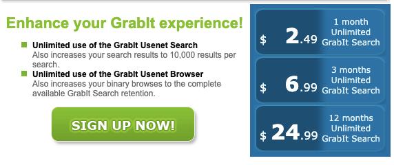 Grabit Usenet Pricing