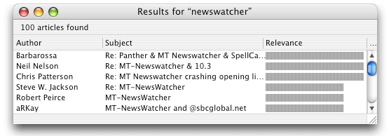 Mt Newswatcher Search Articles