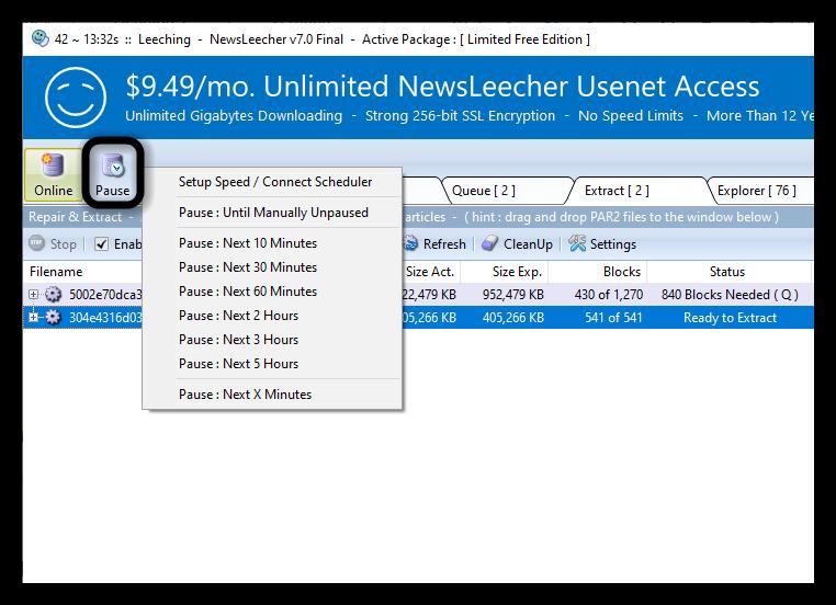 Newsleecher Newsreader Pause Downloads