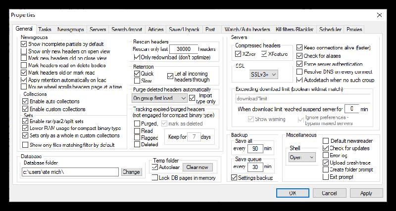 Usenetexplorer Newsreader General Settings