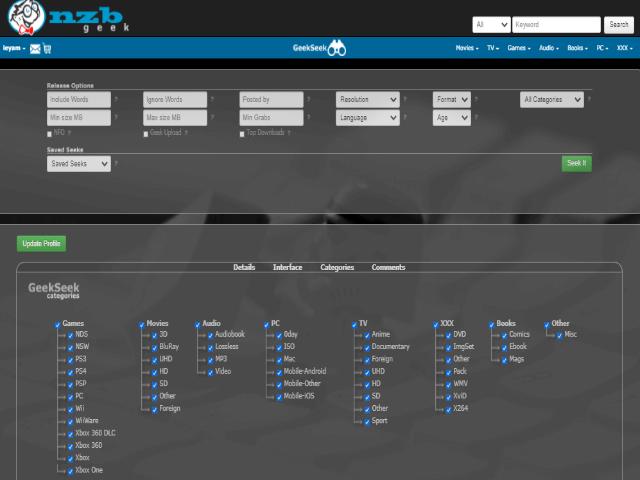 Nzbgeek Filter and Categories
